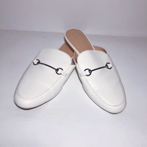 A NEW DAY WHITE LOAFER MULES